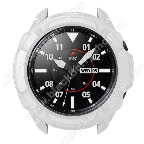 Okosóra szilikontok / műanyag lünetta védő - FEHÉR - SAMSUNG Galaxy Watch3 45mm (SM-R845F)