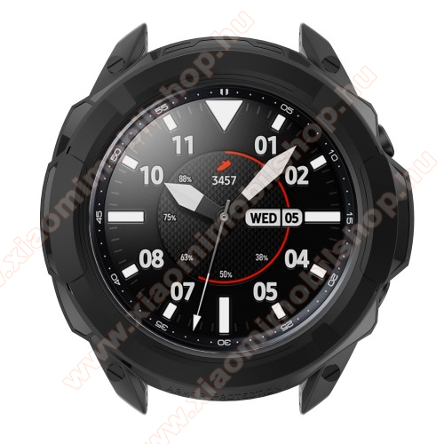 Okosóra szilikontok / műanyag lünetta védő - FEKETE - SAMSUNG Galaxy Watch3 45mm (SM-R845F)