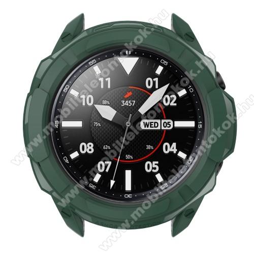 Okosóra szilikontok / műanyag lünetta védő - SÖTÉTZÖLD - SAMSUNG Galaxy Watch3 45mm (SM-R845F)