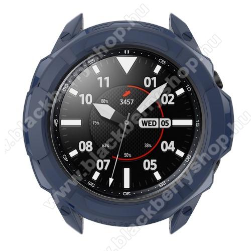Okosóra szilikontok / műanyag lünetta védő - SÖTÉTKÉK - SAMSUNG Galaxy Watch3 45mm (SM-R845F)