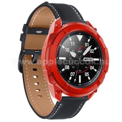 Okosóra szilikontok / műanyag lünetta védő - PIROS - SAMSUNG Galaxy Watch3 45mm (SM-R845F)