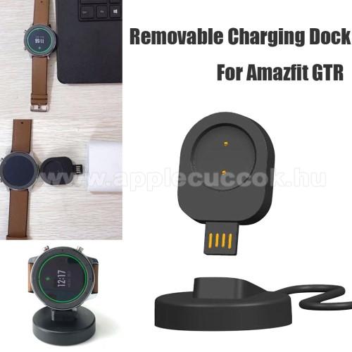 Okosóra töltő - USB mágneses töltő dokkoló, mini - Xiaomi Amazfit GTR 42mm (1909), Xiaomi Amazfit GTR 47mm (1901) - FEKETE
