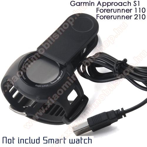 Okosóra töltő / USB töltő - Garmin Forerunner 210 / 110 / Approach S1 - Csipeszes - FEKETE