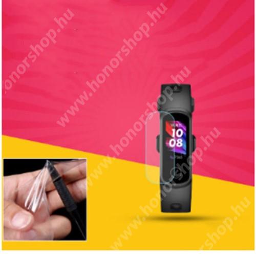 Okosóra TPU képernyővédő fólia - Clear - 1db, törlőkendővel - A TELJES ELŐLAPOT VÉDI! - Huawei Honor Band 5i-ADS-B19