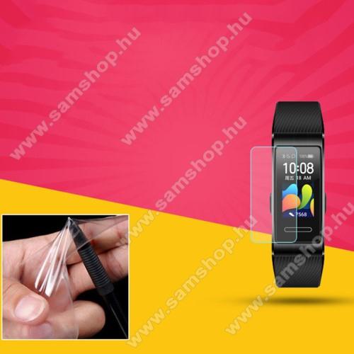 Okosóra TPU képernyővédő fólia - Clear - 1db, törlőkendővel - A TELJES ELŐLAPOT VÉDI! - Huawei Band 4 Pro