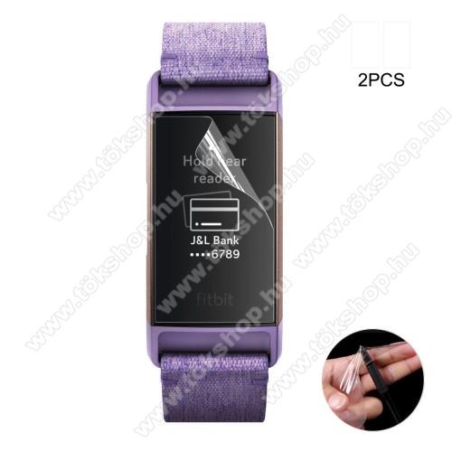 Okosóra TPU képernyővédő fólia - CLEAR - 2db, törlőkendővel - A TELJES ELŐLAPOT VÉDI! - Fitbit Charge 3 / Fitbit Charge 3 SE / Fitbit Charge 4