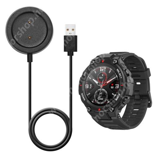 Okosóra USB töltő - FEKETE - 5V/0.5A , 1m, mágneses - Xiaomi Amazfit T-ReX (A1918)