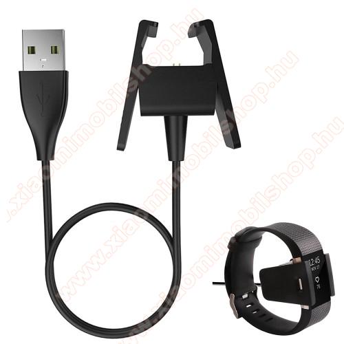 Okosóra USB töltő - FEKETE - 5V/500mA, csipeszes, 49cm - Fitbit Charge 2