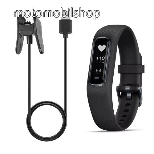 Okosóra USB töltő - FEKETE - csipeszes, 1m - Garmin Vivosmart 4