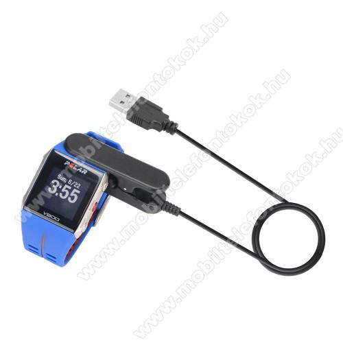 Okosóra USB töltő - FEKETE - csipeszes, 1m - Polar V800