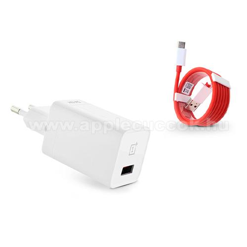 OnePlus Dast Charge h�l�zati t�lt? USB aljzattal + 1m hossz� Type-C adat�tviteli k�bel / USB t�lt? - 5V/4A, Dash Charge - DC050430B + D301 - GY�RI - Csomagol�s n�lk�li