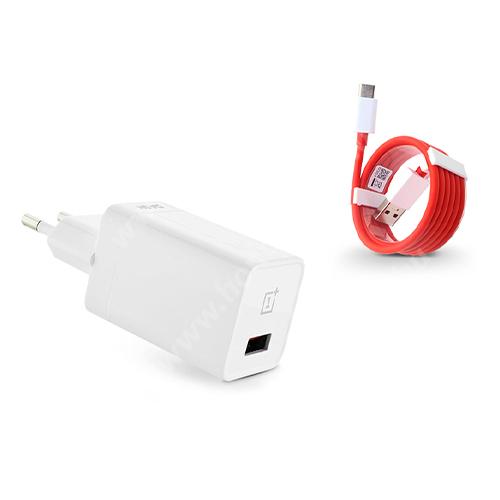 OnePlus Dast Charge hálózati töltő USB aljzattal + 1m hosszú Type-C adatátviteli kábel / USB töltő - 5V/4A, Dash Charge - DC050430B + D301 - GYÁRI - Csomagolás nélküli