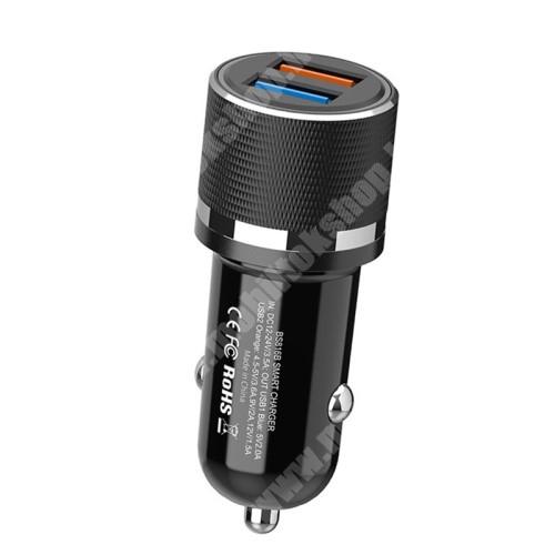 PHILIPS W8510 OnePlus Warp charge kompatibilis szivargyújtós töltő / autós töltő - BS816B QC3.0/2.0 SFCP VOOC 4.0, 1 x 4.5V/3.6A, 5V/3A, 9V/2A, 12V/1.5A MAX, 1 x 5V/2.0A Max, 12W - FEKETE