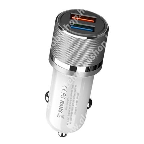 ALCATEL Idol 3C OnePlus Warp charge kompatibilis szivargyújtós töltő / autós töltő - BS816B QC3.0/2.0 SFCP VOOC 4.0, 1 x 4.5V/3.6A, 5V/3A, 9V/2A, 12V/1.5A MAX, 1 x 5V/2.0A Max, 12W - FEHÉR