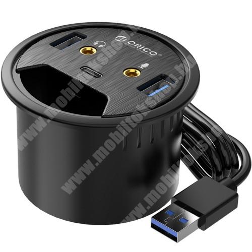 HomTom H17 Pro ORICO DESK-2U1C 5 az 1-ben USB hub / elosztó - 2x USB 3.0, 1x USB Type-C 1x füllhallgató 3.5mm jack, 1x mikrofon bemenet, asztalba süllyeszthető, kék LED, 1.5m hosszú kábel, 69 x 47m  - FEKETE