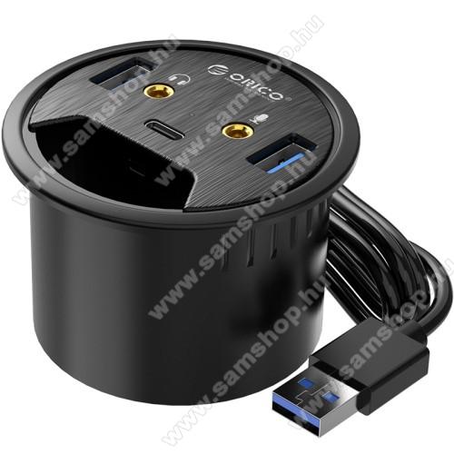 ORICO DESK-2U1C 5 az 1-ben USB hub / elosztó - 2x USB 3.0, 1x USB Type-C 1x füllhallgató 3.5mm jack, 1x mikrofon bemenet, asztalba süllyeszthető, kék LED, 1.5m hosszú kábel, 69 x 47m  - FEKETE
