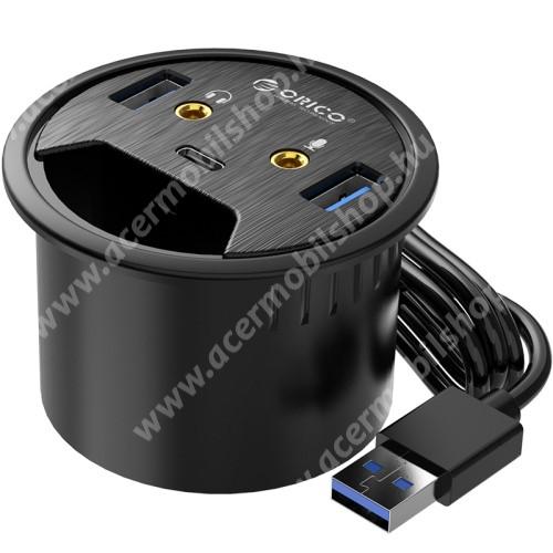 ACER Liquid Z3 ORICO DESK-2U1C 5 az 1-ben USB hub / elosztó - 2x USB 3.0, 1x USB Type-C 1x füllhallgató 3.5mm jack, 1x mikrofon bemenet, asztalba süllyeszthető, kék LED, 1.5m hosszú kábel, 69 x 47m  - FEKETE
