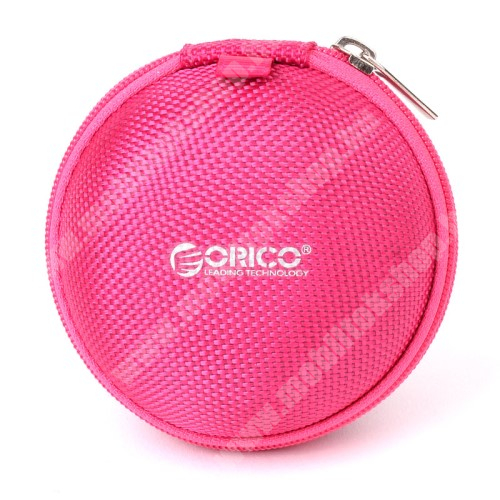 HUAWEI MediaPad M3 8.4 ORICO Fülhallgató / headset / USB kábeltartó tok - vízálló, hálós zseb, cipzáras, 4.6 x 8 cm - RÓZSASZÍN