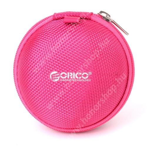 HUAWEI Honor 4A (Y6) ORICO Fülhallgató / headset / USB kábeltartó tok - vízálló, hálós zseb, cipzáras, 4.6 x 8 cm - RÓZSASZÍN