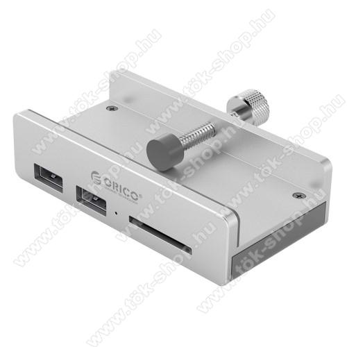 ORICO MH2AC USB HUB / elosztó - 3 db USB3.0 HUB, asztalra csíptethető 10-32 mm-ig nyíló, 5Gbps, 1x SD kártyaolvasó, 89 x 46 x 23 mm - EZÜST