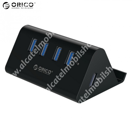 Alcatel One Touch Evo 7 HD ORICO SHC-U3, 4 portos USB hub / elosztó - USB 3.0, 100cm USB kábellel, asztali tartó funkció - FEKETE