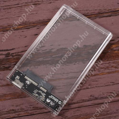 """ORICO USB 3.0 2.5"""" HDD / SSD külső merevlemez ház - lehetővé teszi 2,5″ SATA merevlemez / SSD csatlakoztatását a számítógéphez az USB 3.0 porton keresztül, akár 5 Gbps sebességgel, max 2TB! - ÁTLÁTSZÓ"""