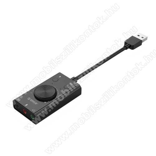 ORICO USB audio adapter / hangkártya - hangerőszabályzó, mikrofon bemenet, némító gomb, egyszerre 2 különböző készülékkel használható! - FEKETE
