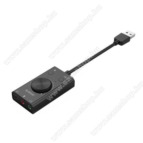 SAMSUNG SGH-X810ORICO USB audio adapter / hangkártya - hangerőszabályzó, mikrofon bemenet, némító gomb, egyszerre 2 különböző készülékkel használható! - FEKETE