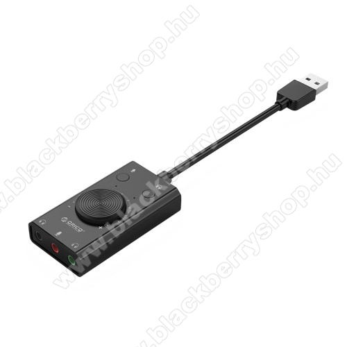 BLACKBERRY 8830ORICO USB audio adapter / hangkártya - hangerőszabályzó, mikrofon bemenet, némító gomb, egyszerre 2 különböző készülékkel használható! - FEKETE