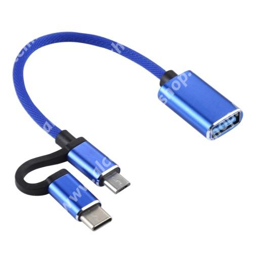 ALCATEL OT-208 OTG 2 az 1-ben adapter kábel, USB/pendrive csatlakoztatásához - OTG / USB 3.0 Type C / microUSB, ~11cm - KÉK