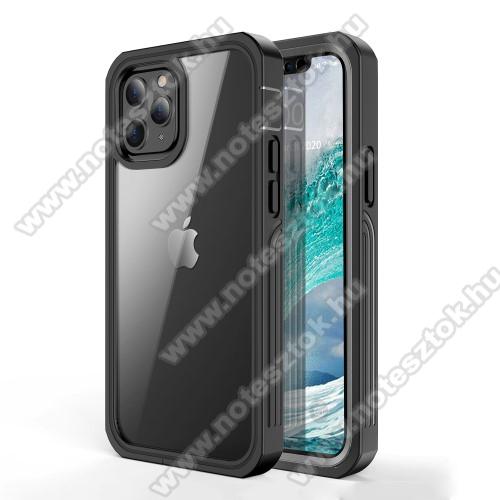 OTT! 360° Shockproof műanyag védő tok / hátlap - FEKETE - szilikon betétes, 360°-os védelem, PET műanyag előlap védő, 2 rétegből áll, ERŐS VÉDELEM! - APPLE iPhone 12 / APPLE iPhone 12 Pro