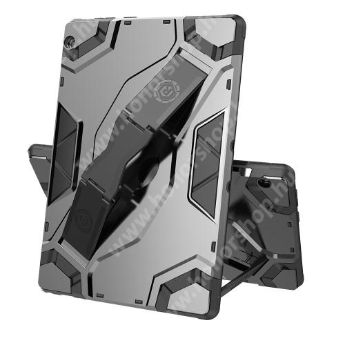 OTT! ARMOR TAB SHELL műanyag védő tok / hátlap - SZÜRKE - szilikon betétes, asztali tartó funkciós, csukópánt, ERŐS VÉDELEM! - Lenovo Tab M10 (TB-X605F / TB-X505F)