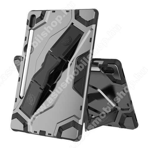 OTT! ARMOR TAB SHELL műanyag védő tok / hátlap - EZÜST - szilikon betétes, asztali tartó funkciós, csukópánt, ceruza tartó, ERŐS VÉDELEM! - SAMSUNG SM-T860 Galaxy Tab S6 (Wi-Fi) / SAMSUNG SM-T865 Galaxy Tab S6 (LTE)