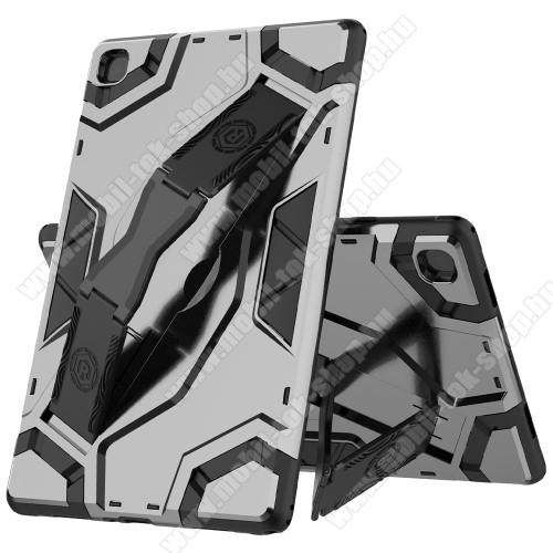OTT! ARMOR TAB SHELL műanyag védő tok / hátlap - SZÜRKE - szilikon betétes, asztali tartó funkciós, csukópánt, ERŐS VÉDELEM! - SAMSUNG Galaxy Tab A7 10.4 (2020) (SM-T500/SM-T505)