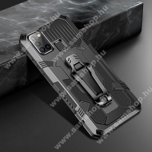 OTT! BELT ARMOR műanyag védő tok / hátlap - FEKETE - szilikon betétes, kitámasztható, erősített sarkok, övre fűzhető csipesz, tapadófelület mágneses autós tartóhoz - ERŐS VÉDELEM! - SAMSUNG SM-A217F Galaxy A21s