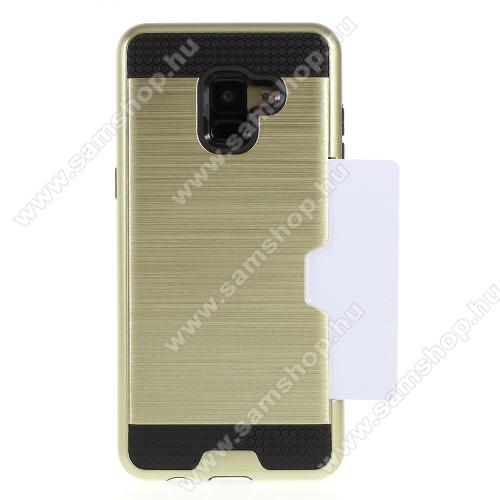 OTT! Brush Card2 műanyag védő tok / hátlap - ARANY - szálcsiszolt mintázat, szilikon belső, bankkártya tartó - ERŐS VÉDELEM! - SAMSUNG SM-A530F Galaxy A8 (2018)
