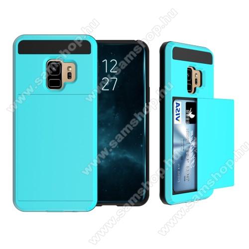 OTT! Brush Card3 műanyag védő tok / hátlap - VILÁGOSKÉK - szálcsiszolt mintázat, kitámasztható, bankkártya tartó - ERŐS VÉDELEM! - SAMSUNG SM-G960 Galaxy S9