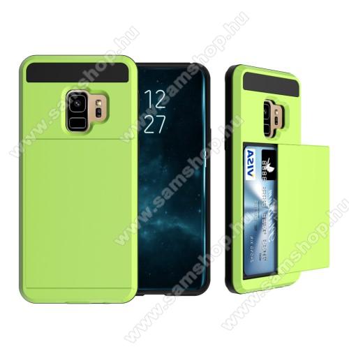 OTT! Brush Card3 műanyag védő tok / hátlap - VILÁGOS ZÖLD - szálcsiszolt mintázat, kitámasztható, bankkártya tartó - ERŐS VÉDELEM! - SAMSUNG SM-G960 Galaxy S9