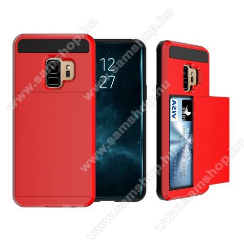 OTT! Brush Card3 műanyag védő tok / hátlap - PIROS - szálcsiszolt mintázat, kitámasztható, bankkártya tartó - ERŐS VÉDELEM! - SAMSUNG SM-G960 Galaxy S9