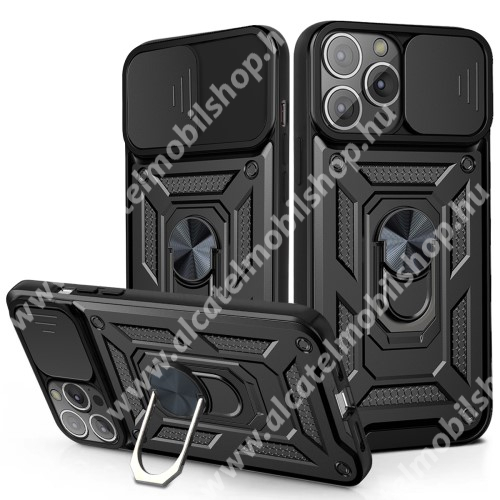 OTT! CAMSHIELD ARMOR műanyag védő tok / hátlap - FEKETE - szilikon betétes, kitámasztható, fém ujjgyűrűvel, eltolható kamera védő fedéllel, tapadófelület mágneses autós tartóhoz - ERŐS VÉDELEM! - APPLE iPhone 13 Pro Max