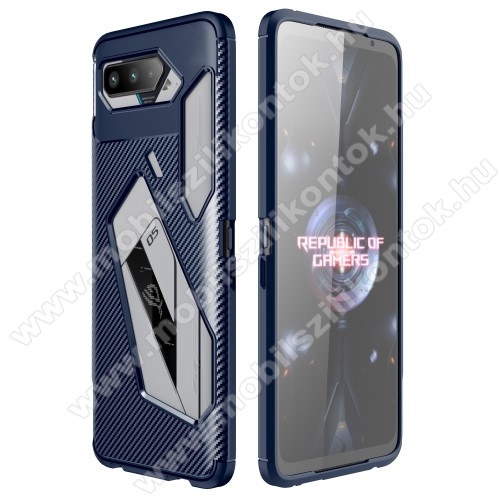 OTT! CARBON PRO szilikon védő tok / hátlap - SÖTÉTKÉK - karbon mintás, ERŐS VÉDELEM! - ASUS ROG Phone 5 / ROG Phone 5 Pro / ROG Phone 5 Ultimate