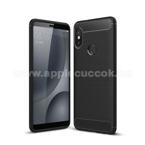 OTT! CARBON szilikon v�d? tok / h�tlap - FEKETE - karbon mint�s, ER?S V�DELEM! - Xiaomi Redmi Note 5 Pro (Global version) / Xiaomi Redmi Note 5 (Global version)