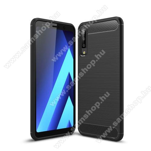 SAMSUNG Galaxy A7 (2018) (SM-A750F)OTT! CARBON szilikon védő tok / hátlap - FEKETE - karbon mintás, ERŐS VÉDELEM! - SAMSUNG SM-A750F Galaxy A7 (2018)