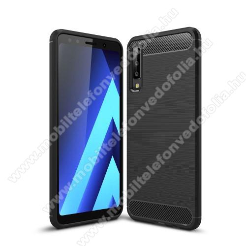 SAMSUNG SM-A750F Galaxy A7 (2018)OTT! CARBON szilikon védő tok / hátlap - FEKETE - karbon mintás, ERŐS VÉDELEM! - SAMSUNG SM-A750F Galaxy A7 (2018)