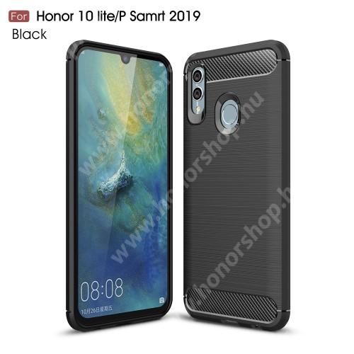 HUAWEI Honor 10 LiteOTT! CARBON szilikon védő tok / hátlap - FEKETE - karbon mintás, ERŐS VÉDELEM! - HUAWEI P Smart (2019) / HUAWEI Honor 10 Lite