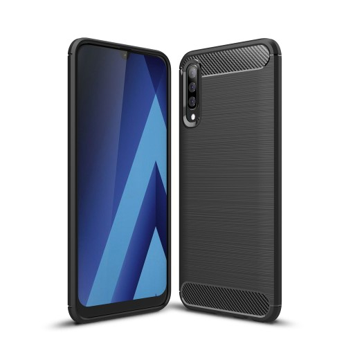 OTT! CARBON szilikon védő tok / hátlap - FEKETE - karbon mintás, ERŐS VÉDELEM! - SAMSUNG SM-A307F Galaxy A30s / SAMSUNG SM-A505F Galaxy A50 / SAMSUNG Galaxy A50s