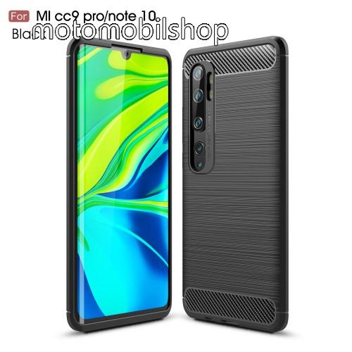 OTT! CARBON szilikon védő tok / hátlap - FEKETE - karbon mintás, ERŐS VÉDELEM! - Xiaomi Mi Note 10 / Xiaomi Mi Note 10 Pro / Xiaomi Mi CC9 Pro