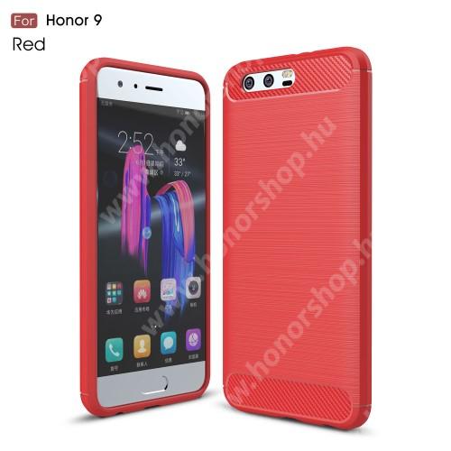 HUAWEI Honor 9 OTT! CARBON szilikon védő tok / hátlap - PIROS - karbon mintás, ERŐS VÉDELEM! - HUAWEI Honor 9 / HUAWEI Honor 9 Premium