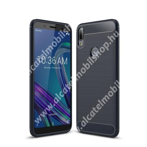 OTT! CARBON szilikon védő tok / hátlap - SÖTÉTKÉK - karbon mintás, ERŐS VÉDELEM! - ASUS Zenfone Max Pro (M1) (ZB601KL) / ASUS Zenfone Max Pro (M1) (ZB602KL)