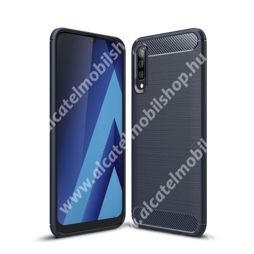 OTT! CARBON szilikon védő tok / hátlap - SÖTÉTKÉK - karbon mintás, ERŐS VÉDELEM! - SAMSUNG SM-A307F Galaxy A30s / SAMSUNG SM-A505F Galaxy A50 / SAMSUNG Galaxy A50s
